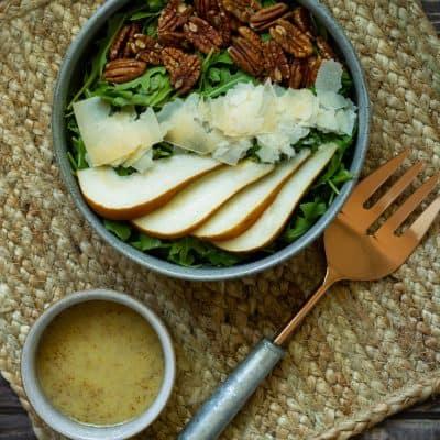 Arugula Salad with Parmesan, Pear, and Pecans