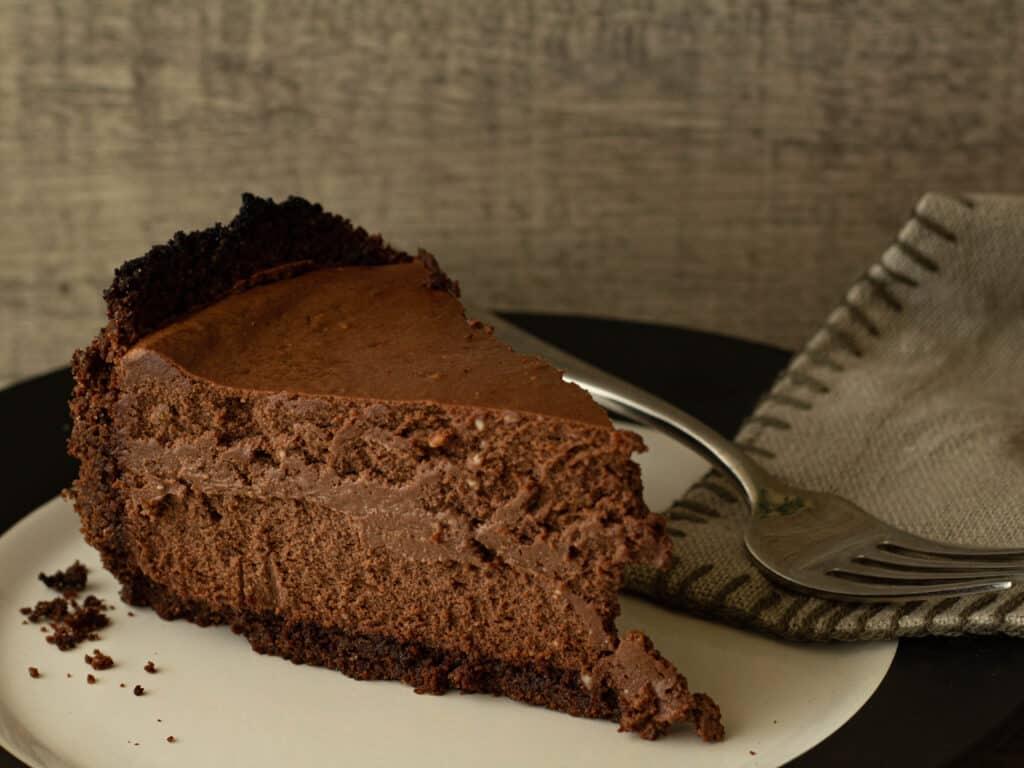Slice of Dark Chocolate Orange Cheesecake