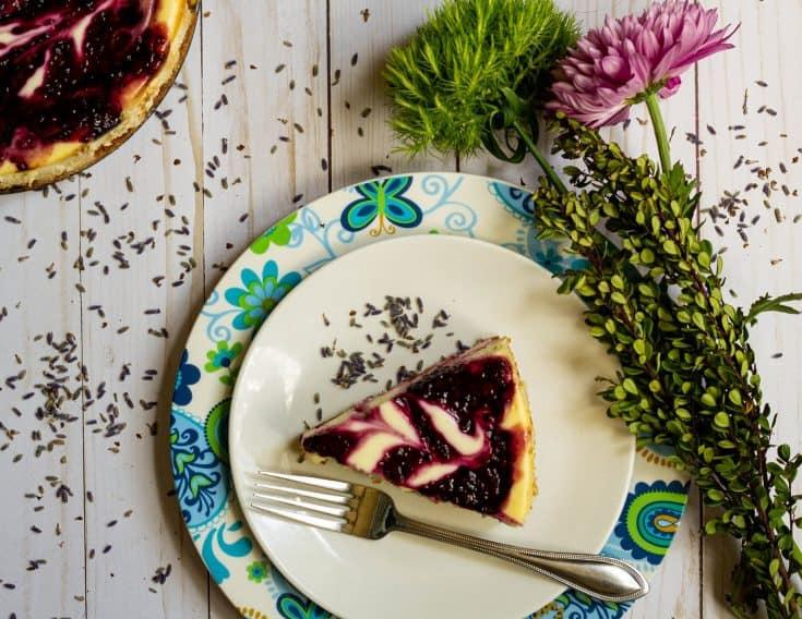 Cheesecake with Blackberry Lavender swirl
