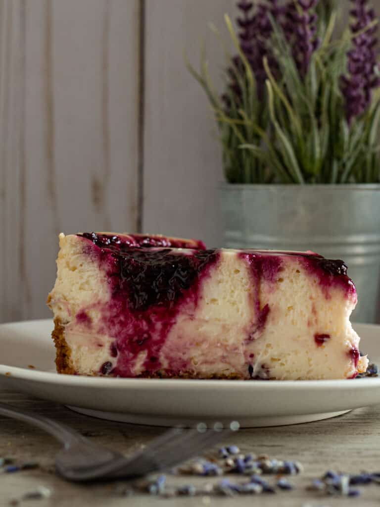 Sl;ice of blackberry cheesecake with fork