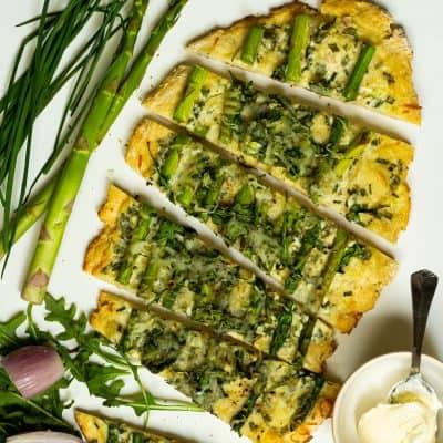 Asparagus and Arugula Flatbread with Creme Fraiche