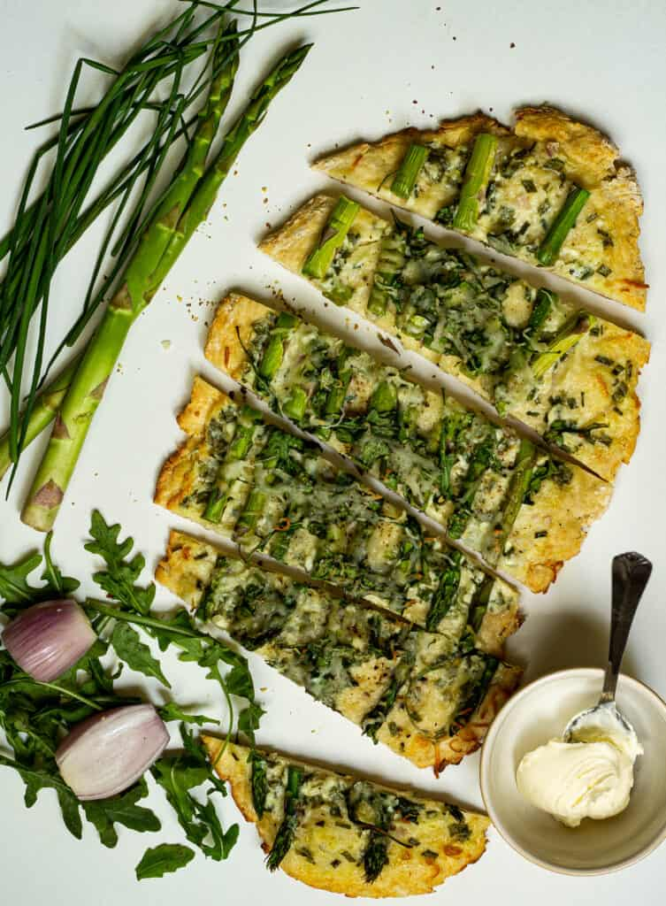 flatbread topped with asparagus