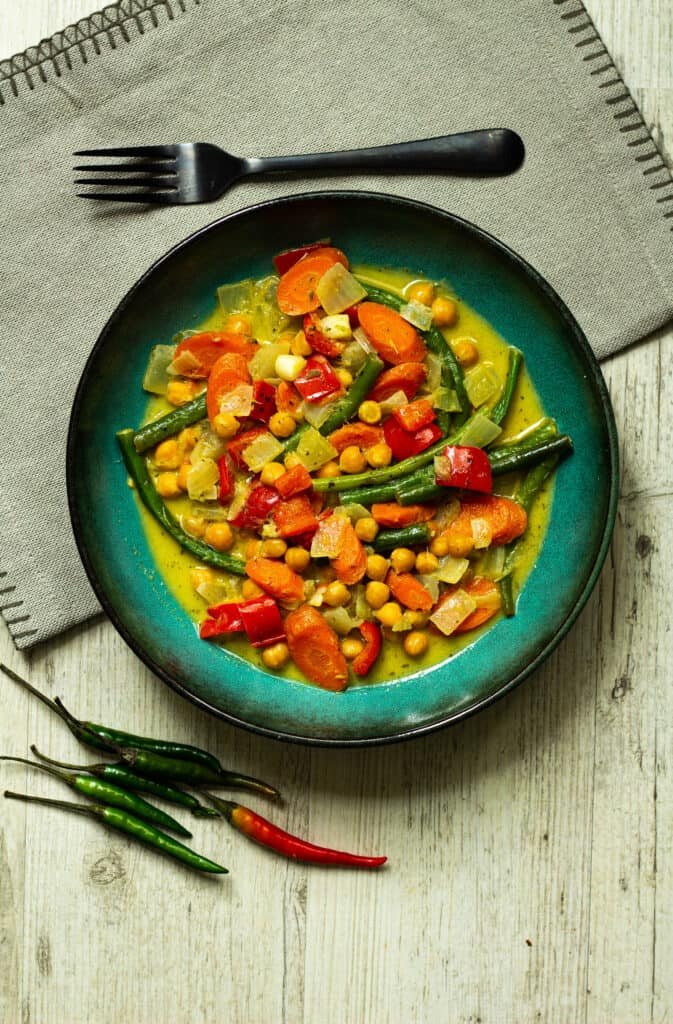 thai green curry with fork