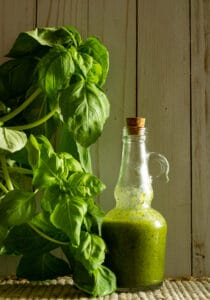 glass bottle of white balsamic and basil vinaigrette with a basil plant