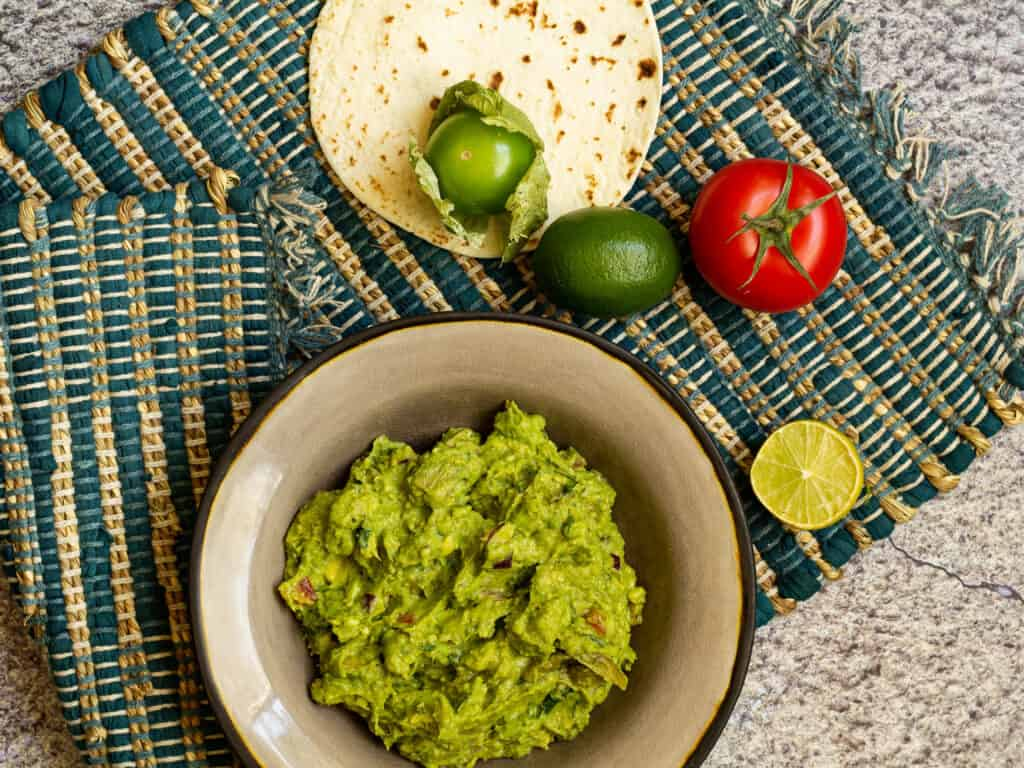 Photo of guacamole in a bowl