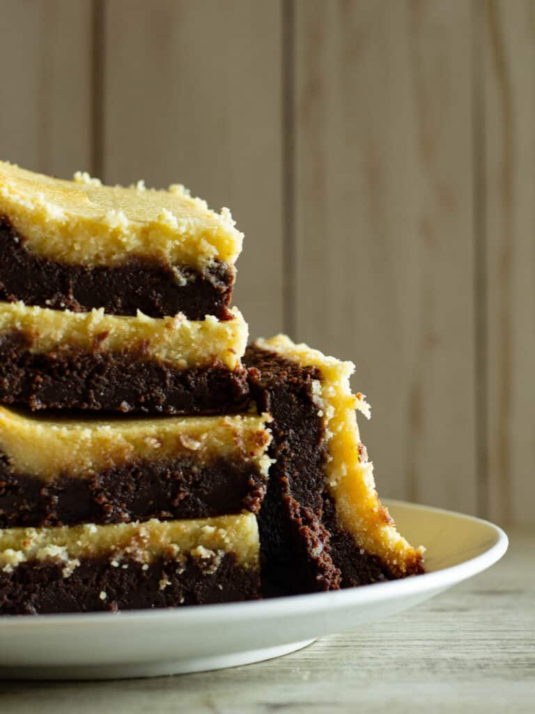 stack of brownies on a plate