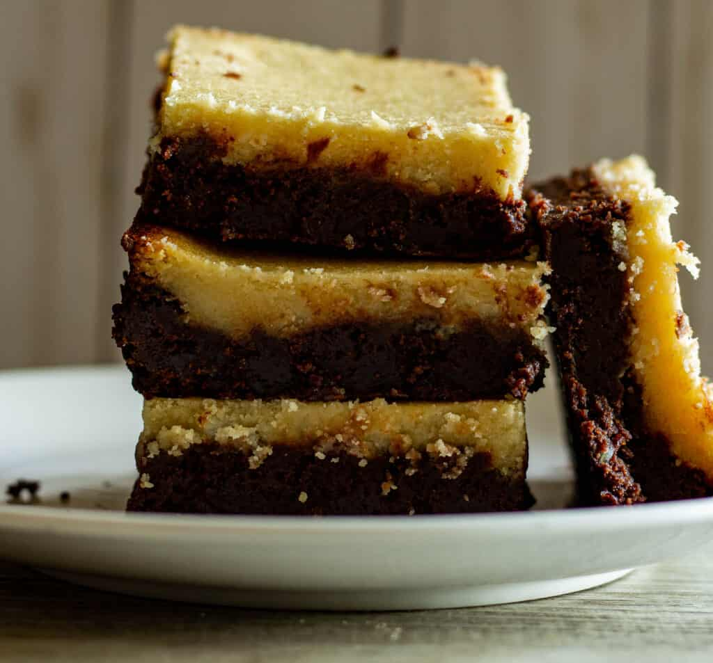 Close up photo of brownies with goat cheese