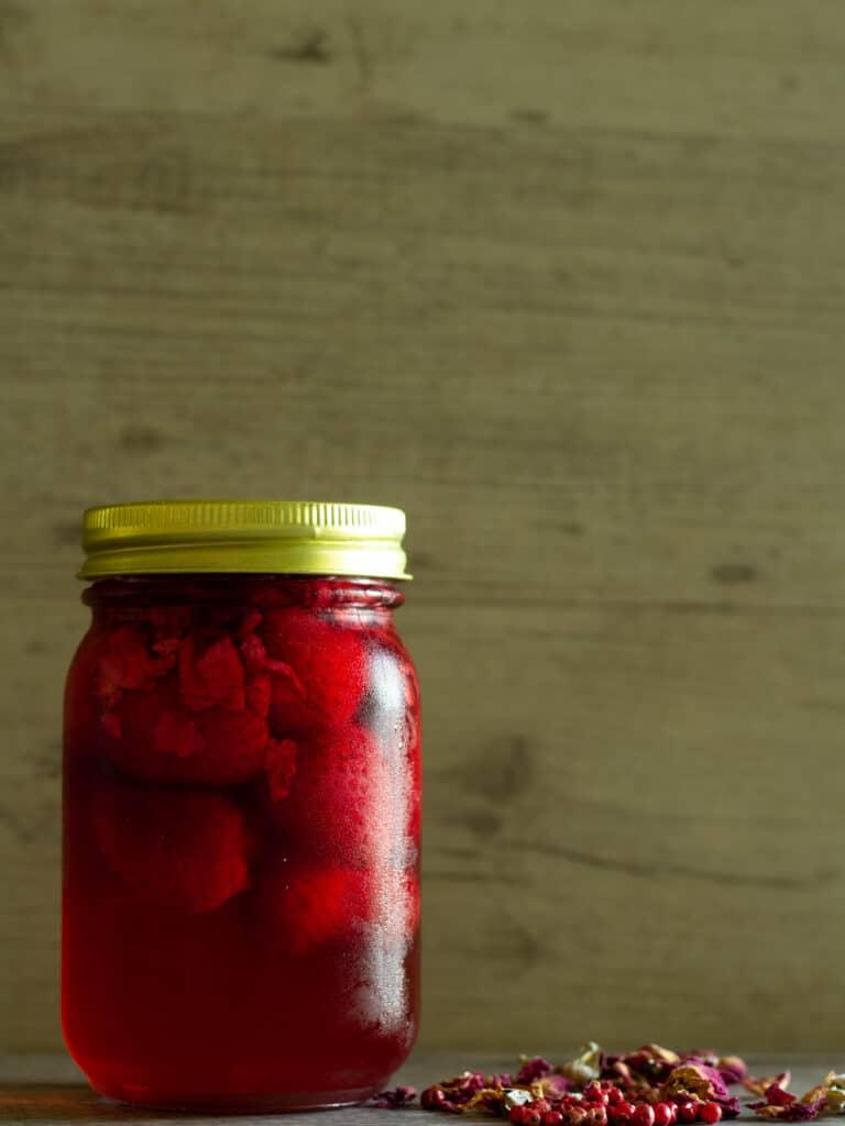 pickled strawberries in a jar