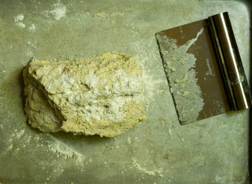 scone dough on a baking sheet