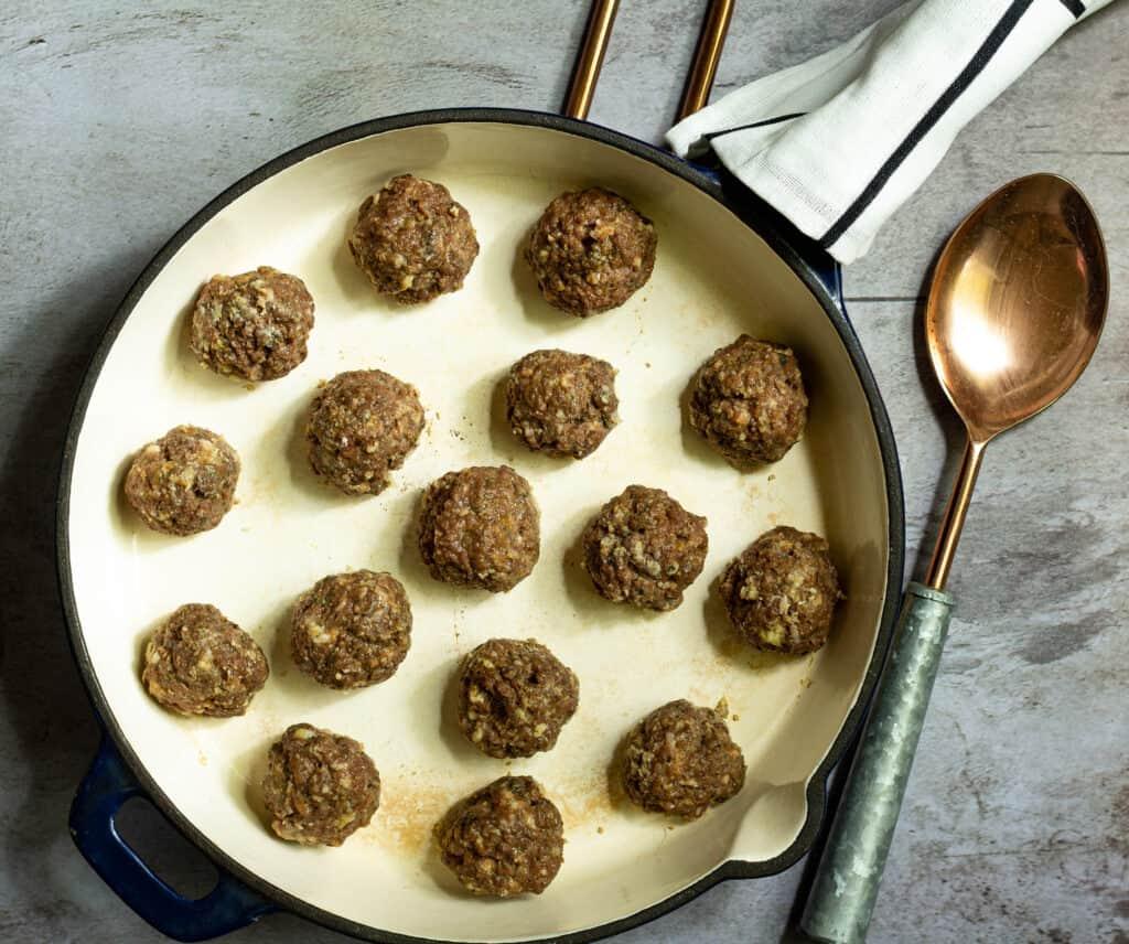 Baked meatballs in a skillet